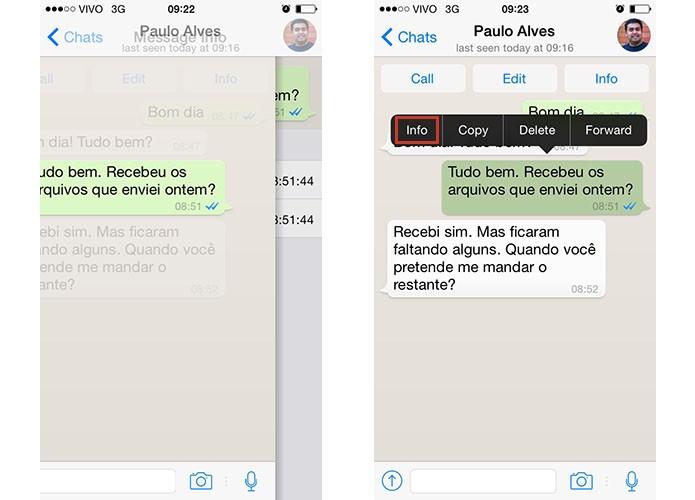 No iPhone, mova a mensagem para o lado ou toque para exibir a opção Info (Foto: Reprodução/Paulo Alves)