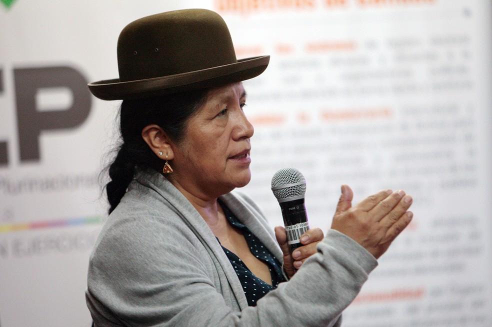Maria Eugenia Choque, ex-presidente do Supremo Tribunal Eleitoral da Bolívia — Foto: Manuel Claure/Reuters