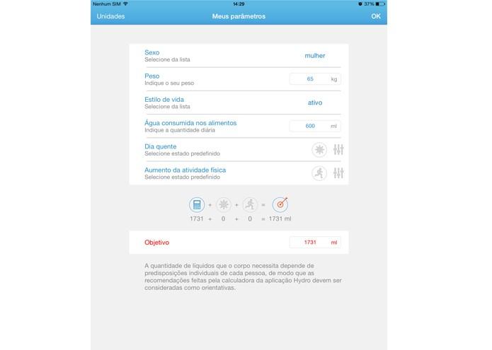 O aplicativo Hydro Beba Água emite alertas para lembrar o usuário de ingerir água (Foto: Reprodução/Lívia Dâmaso)