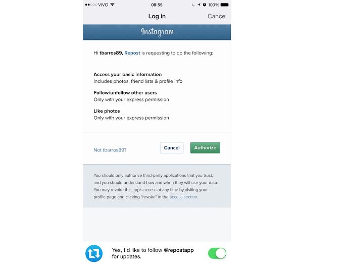Autorize que o app use o seu Instagram (Foto: Reprodução/Thiago Barros)