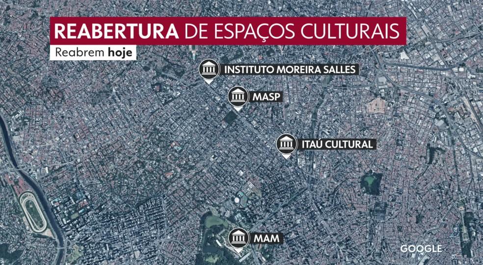 Mapa da reabertura de museus na cidade de SP — Foto: Reprodução/TV Globo