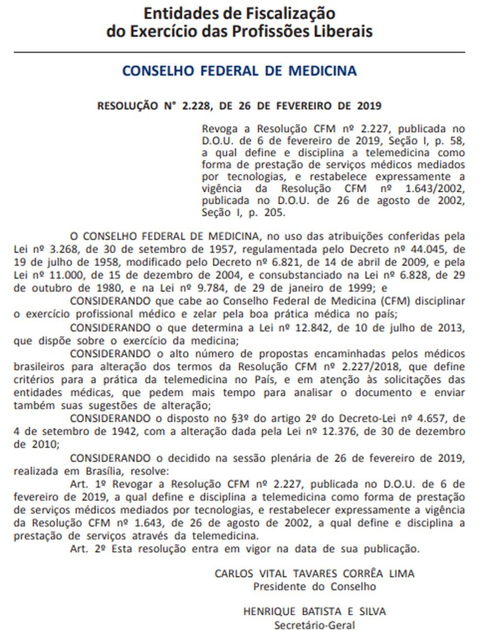 Resolução que revoga novas regras da telemedicina é publicada no Diário Oficial — Foto: Reprodução/G1