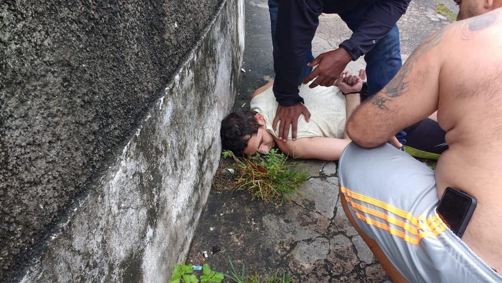 Vanclécio Carneiro foi capturado por familiares da vítima, que o seguraram e chamaram a polícia — Foto: Redes sociais