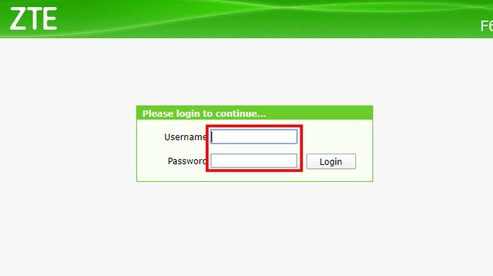 Faça login usando os dados padrões do roteador — Foto: Reprodução/Paulo Alves