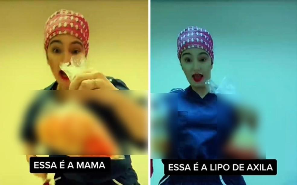 Sociedade Brasileira de Cirurgia Plástica diz que a cirurgiã plástica Caren Trisoglio Garcia, que atende em Ribeirão Preto, desrespeita código de ética — Foto: Reprodução/Tik Tok