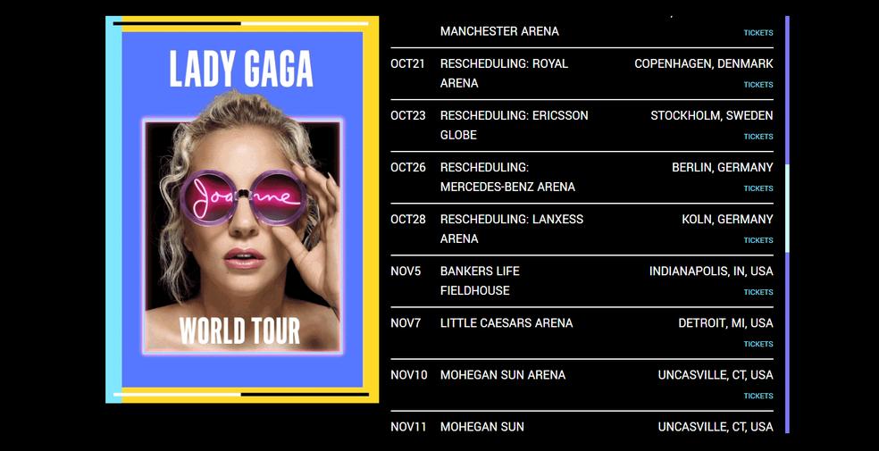 Próximos shows da turnê Joanne, de Lady Gaga (Foto: Reprodução)