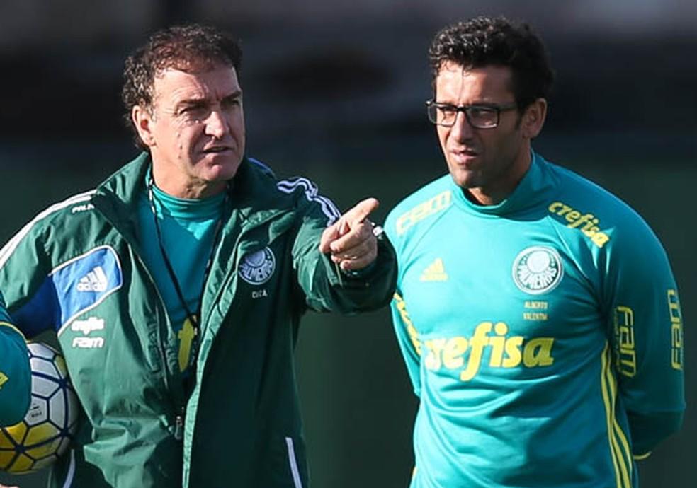 Cuca trabalhou com Valentim no título brasileiro de 2016 pelo Palmeiras (Foto: Cesar Greco/Ag Palmeiras/Divulgação)