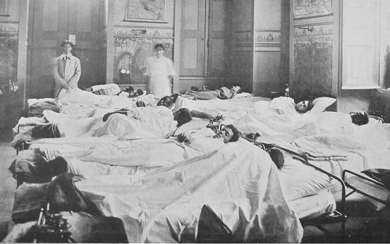 Enfermaria com doentes de gripe espanhola no Rio
