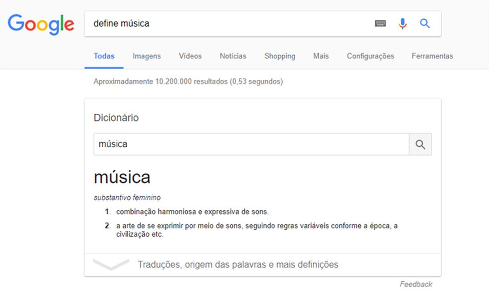 Pesquisa pode funcionar como dicionário (Foto: Reprodução/Google)