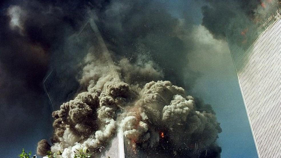 Ataque contra as Torres Gêmeas em 11 de setembro — Foto: Getty Images via BBC