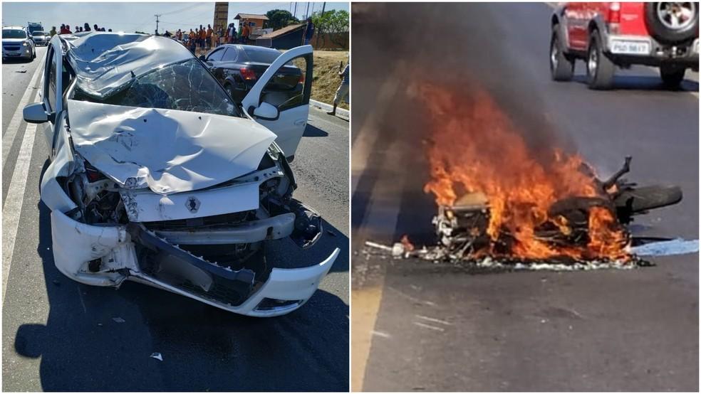 Veículo e moto colidiram na BR-316 e ficaram destruídos — Foto: Redes Sociais