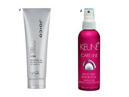 1. Power Gel Sculpting, Joico, R$ 141 e 2. Spray para Cachos Care Line Keratin, Keune, R$ 131