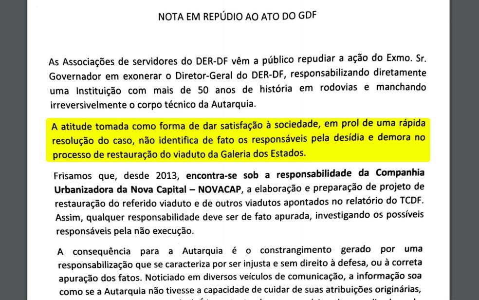 Trecho da nota de repúdio de servidores do DER-DF à demissão do diretor Henrique Luduvice (Foto: Reprodução)