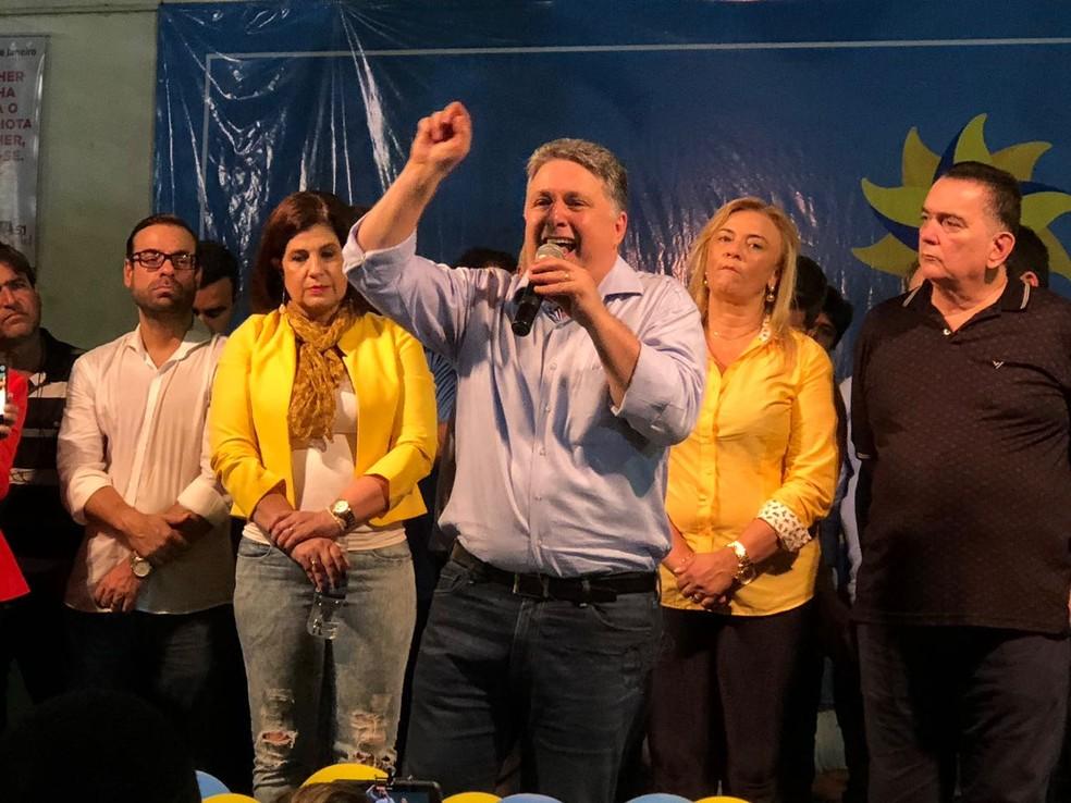 Anthony Garotinho discursa em evento de lançamento de pré-candidatura ao Governo do RJ (Foto: Erick Rianelli/TV Globo)