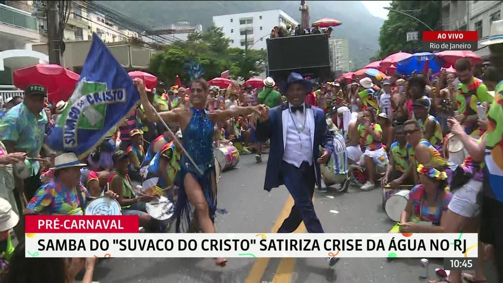 Desfile do Suvaco do Cristo na Rua Jardim Botânico, na Zona Sul do Rio — Foto: Reprodução / GloboNews