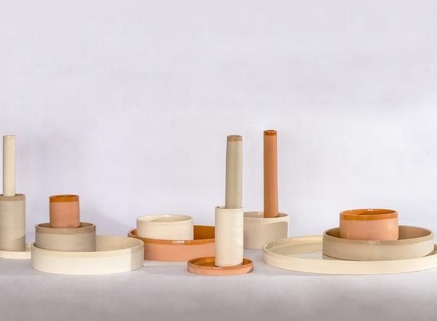 Vasos, tigelas e travessas de cerâmica da coleção Aterrário, de Eduardo Borém (Foto: Divulgação)