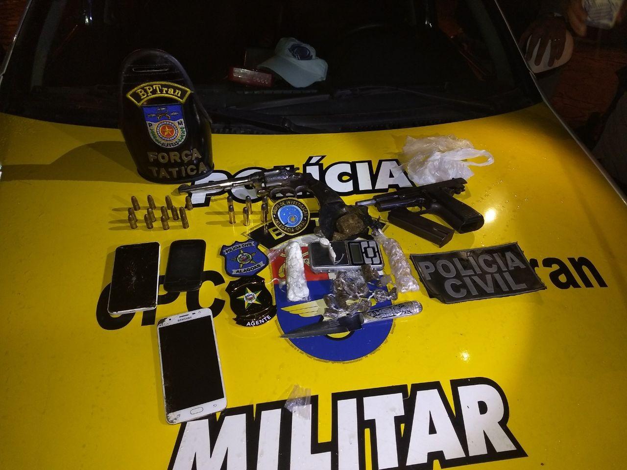 Grupo de jovens é preso em flagrante com drogas e armas de fogo no São Jorge