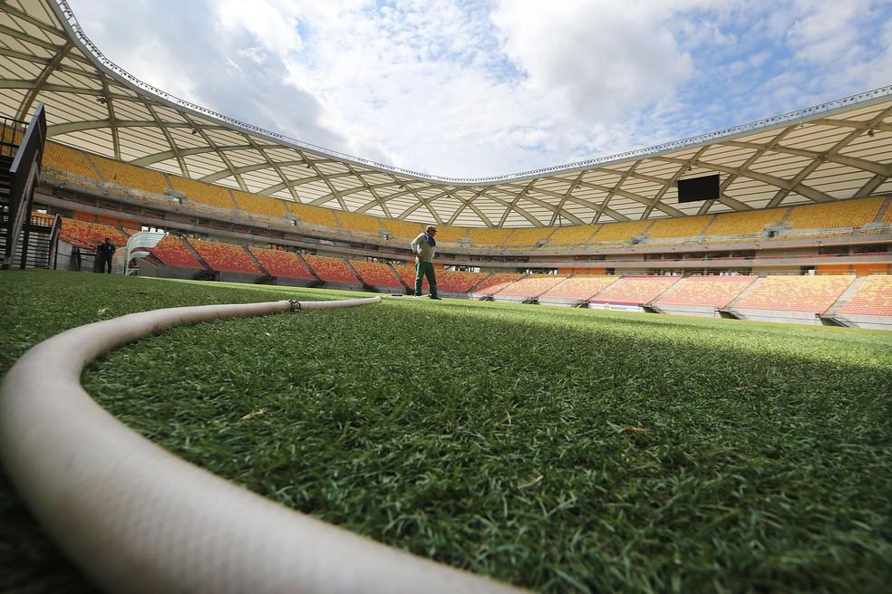 Arena da Amazônia tem cerca de 20 jogos por ano; custo mensal de manutenção do estádio é de R$750 mil — Foto: Getty Images