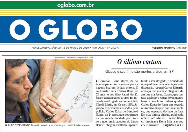 Primeira página do GLOBO de 13 de março de 2010