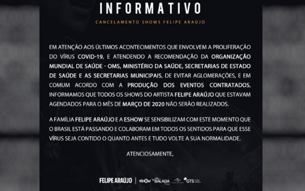 Informativo do cantor sertanejo Felipe Araújo, Goiás — Foto: Reprodução/Instagram