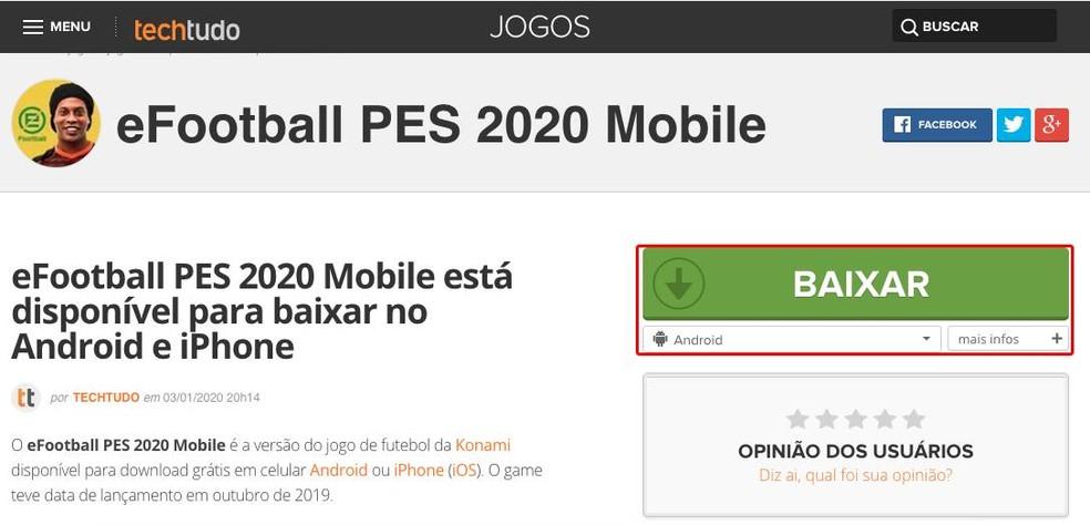 Como baixar PES 2020 Mobile — Foto: Reprodução/TechTudo