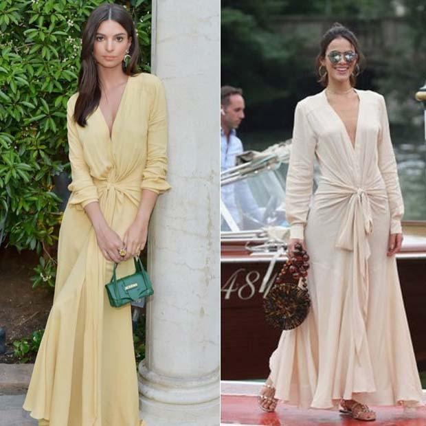 Emily Ratajkowski e Bruna Marquezine já usaram o mesmo modelo (Foto: Reprodução)