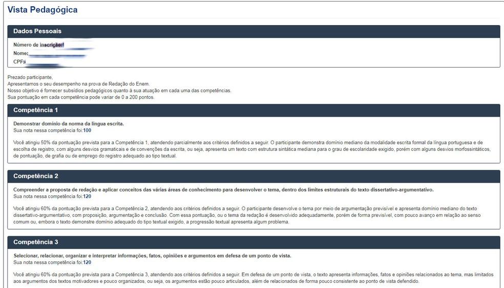 Exemplo de vista pedagógica de um dos candidatos do Enem 2017. (Foto: Reprodução/Inep)