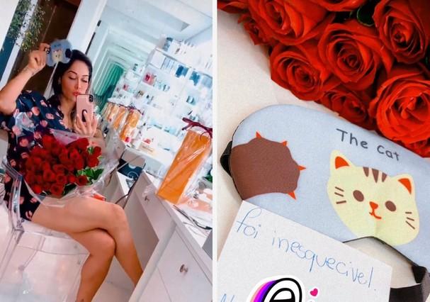 Mayra ganhou flores (Foto: Reprodução/Instagram)