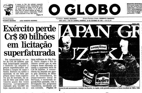 Primeira página de 21 de outubro de 1991, com reportagem de Boechat na manchete