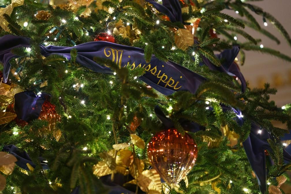Detalhe da árvore de Natal oficial da Casa Branca mostra fita azul de veludo decorada com ouro. Os nomes dos estados americanos foram bordados nos 150 metros da fita  — Foto: Carolyn Kaster/AP