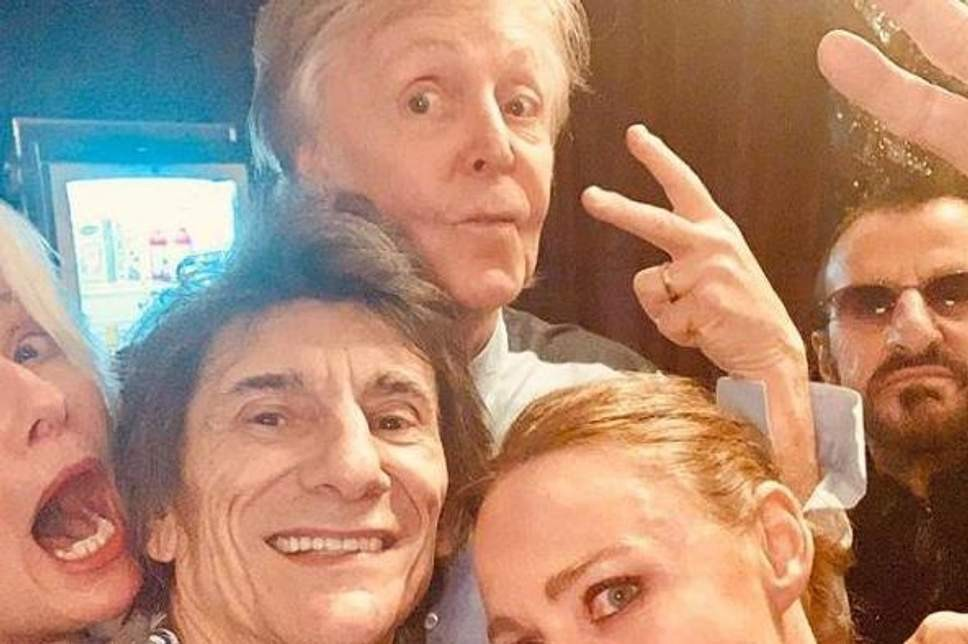 Paul McCartney, Ron Wood, Ringo Starr, Emma Thompson e Stella McCartney (Foto: Instagram)
