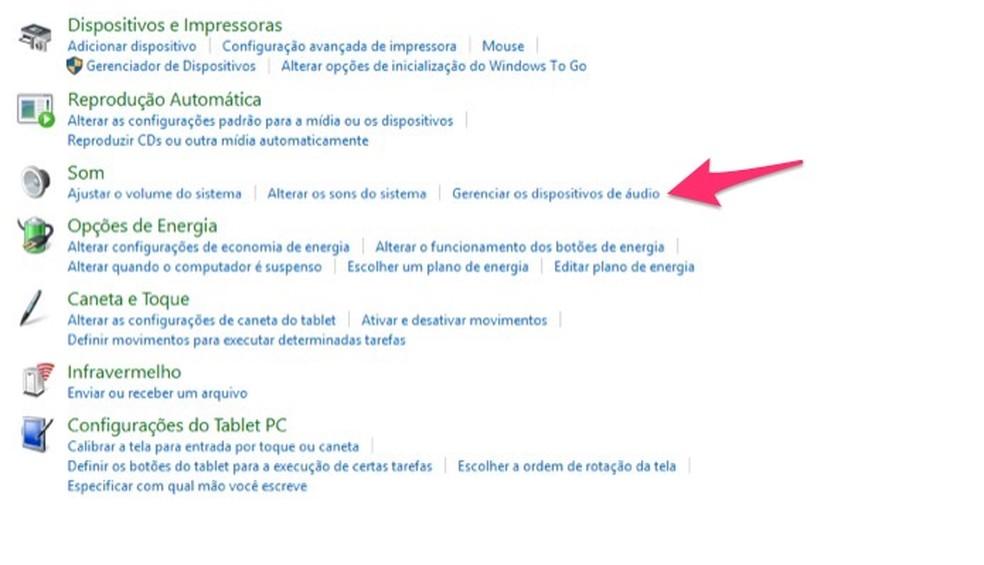 Ação para abrir a tela para gerenciamento de dispositivos de áudio do Windows  — Foto: Reprodução/Marvin Costa