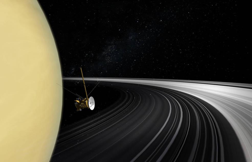Representação artística da sonda Cassini nos anéis de Saturno (Foto: NASA/JPL-Caltech)
