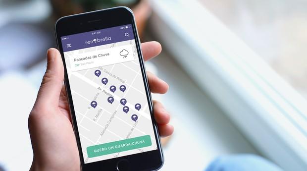 O aluguel dos guarda-chuvas é feito por meio de um aplicativo (Foto: Divulgação)