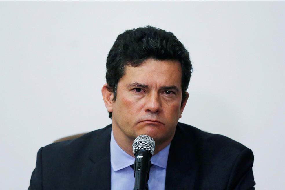 Ex-juiz Sergio Moro anuncia saída do Ministério da Justiça em coletiva em Brasília — Foto: Ueslei Marcelino/Reuters