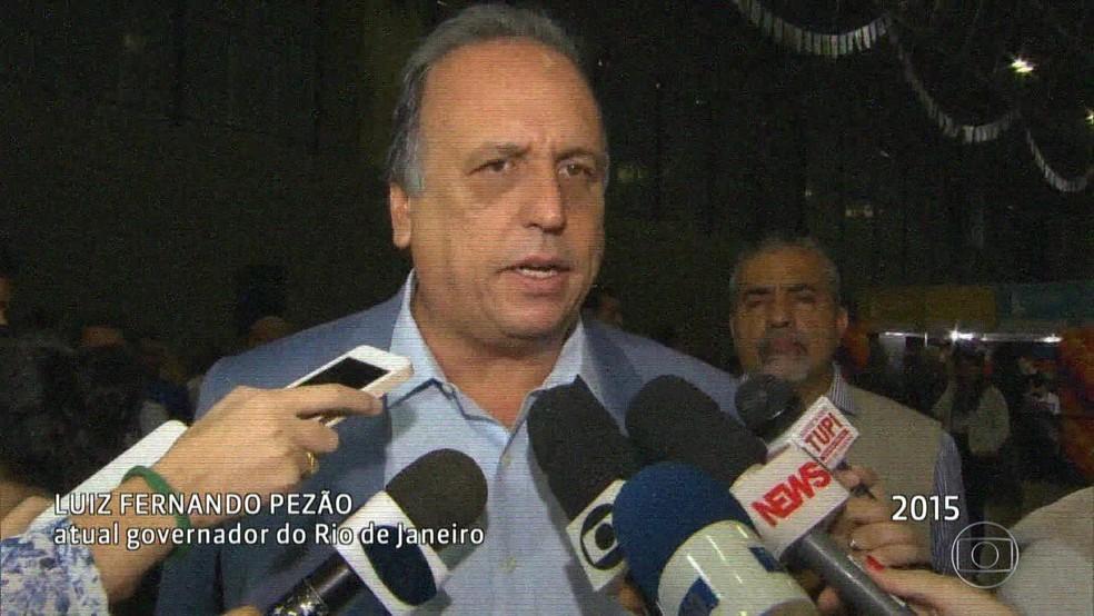 Pezão em 2015 disse que não faltaria recursos para combater a criminalidade (Foto: Reprodução/Acervo/Globo)