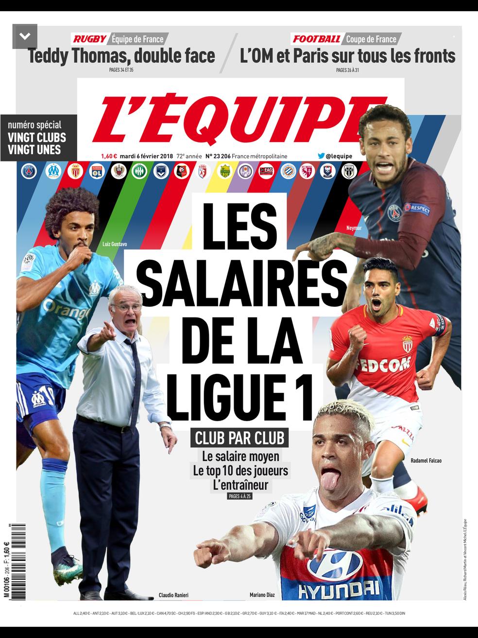"""""""L'Équipe traz o guia dos salários do Campeonato Francês (Foto: Divulgação)"""