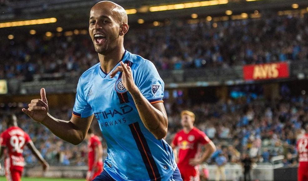 Brasileiro Héber foi artilheiro do New York FC na MLS de 2019 com Dome Torrent, com 15 gols em 23 jogos — Foto: Divulgação/New York City FC