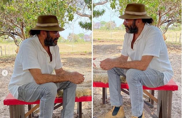 Almir Sater tem acompanhado os atores nas externas do Pantanal. Ele é local (Foto: Reprodução/Instagram)