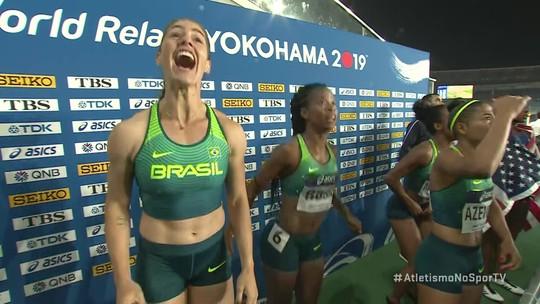 Meninas do 4 x 100 do Brasil vão a loucura com primeiro lugar da equipe masculina