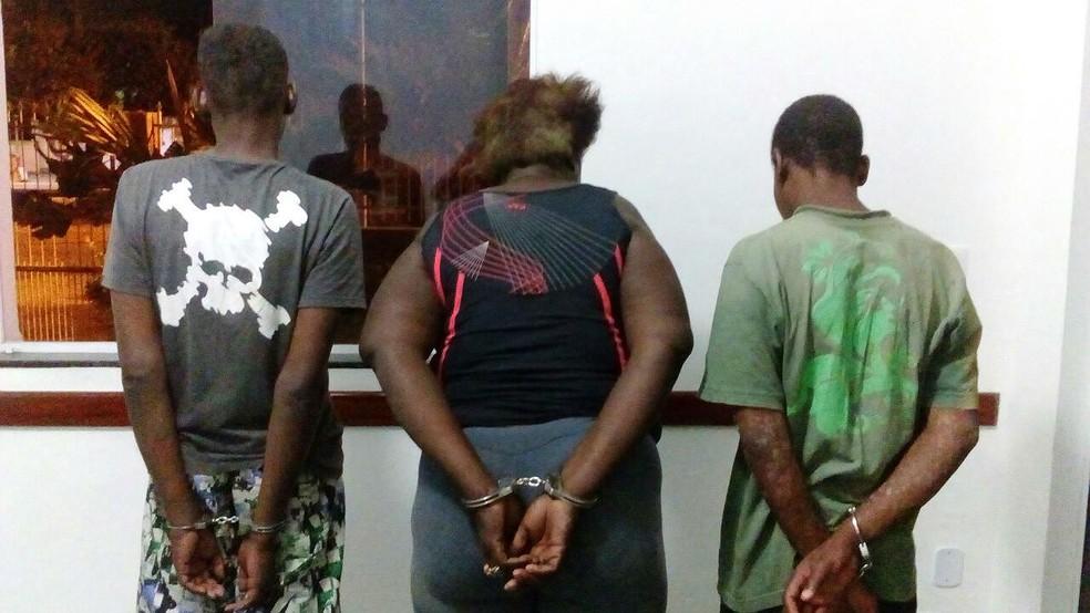 -  Trio suspeito foi detido em Além Paraíba  Foto: Polícia Militar/Divulgação