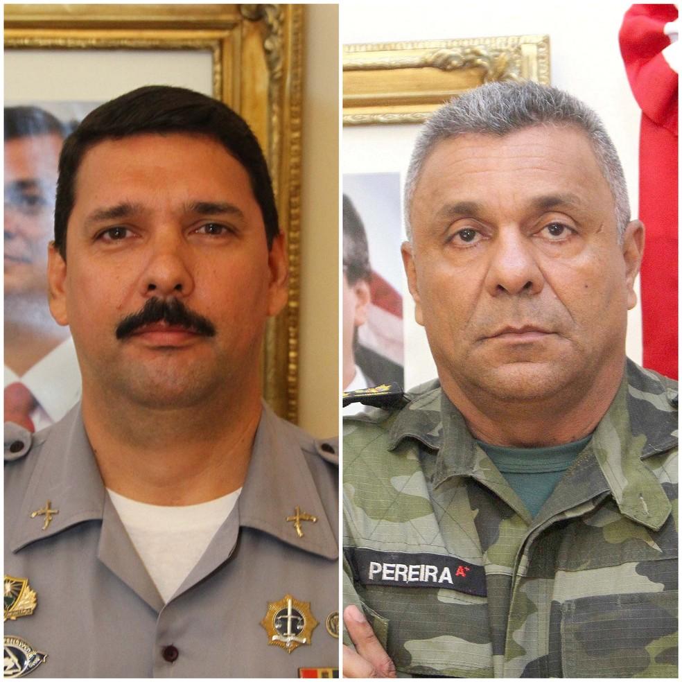 Coronel Luongo (à esquerda), exonerado nesta terça (16), e coronel Pereira (à direita), comandante da PM entre 2016 a 2018  — Foto: Divulgação