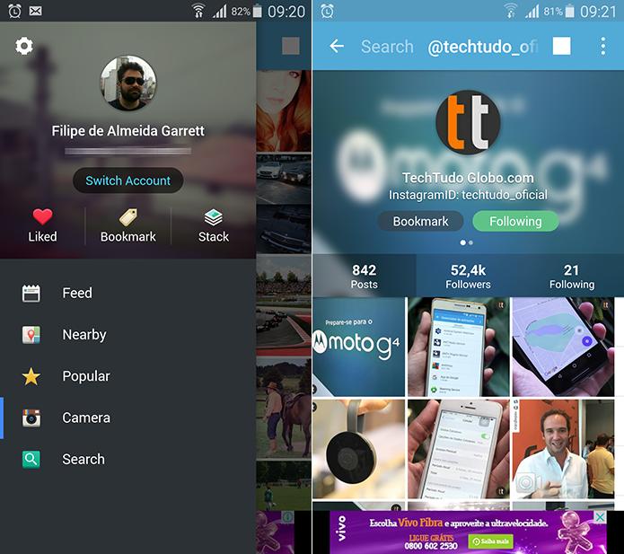 Grab também permite que você explore o Instagram através de uma interface alternativa (Foto: Reprodução/Filipe Garrett)