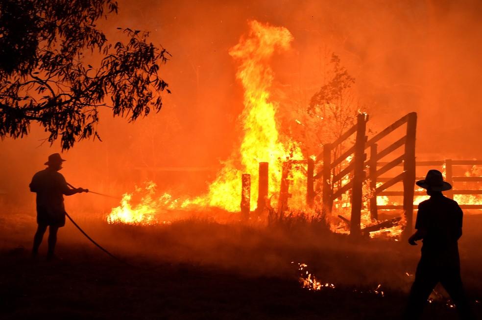 Moradores tentam apagar incêndio em Hillsville, cerca de 350 km ao norte de Sydney, no dia 12 de dezembro. — Foto: Peter Parks / AFP
