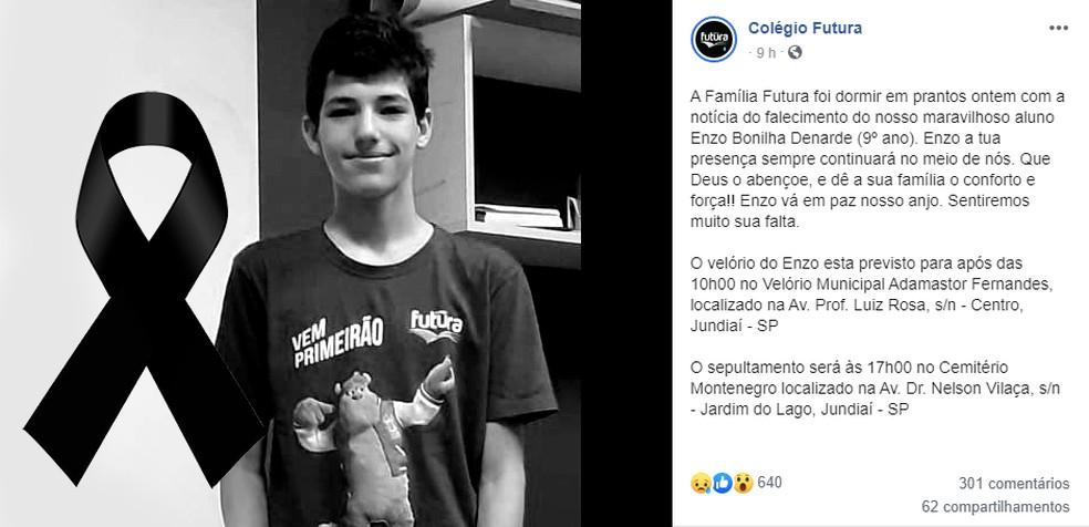 Colégio onde garoto estudava fez uma homenagem nas redes sociais — Foto: Reprodução/Facebook