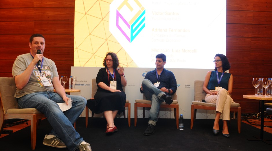 Luiz Morcelli, Adriana Fernandes, Victor Santos e Carolina Sevciuc no FICE (Foto: Foto: Rafael Jota)