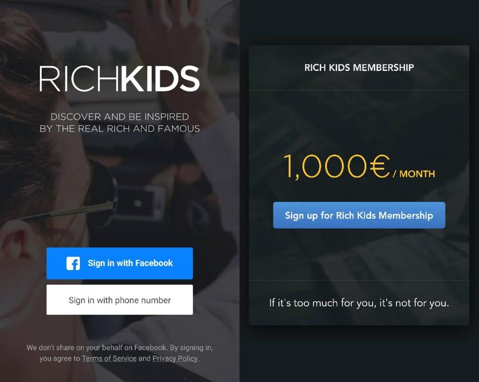 Rich Kids é um app de fotos com mensalidade de € 1.000  — Foto: Reprodução/Clara Fabro