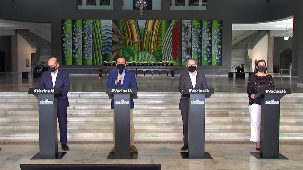 Governo de São Paulo faz coletiva de imprensa na tarde desta quarta-feira (20). — Foto: Reprodução/TV Globo