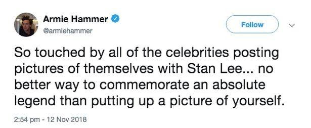 O tuíte no qual o ator Armie Hammer critica as celebridades compartilhando fotos com o quadrinista Stan Lee (Foto: Twitter)