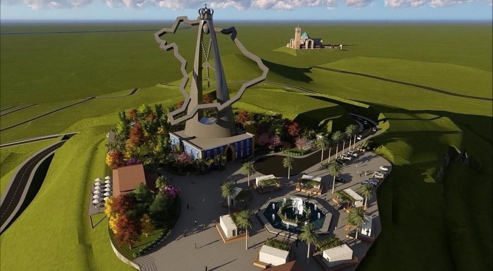 Simulação computadorizada do parque de Nossa Senhora Aparecida, que seria finalizado completamente em dois anos — Foto: Divulgação/ Prefeitura de Aparecida